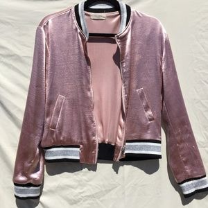 Blush Satin Bomber w/ Striped Banding